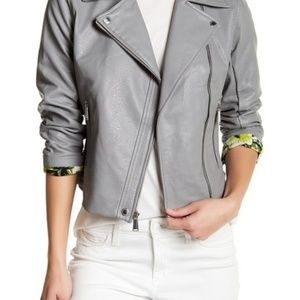 BCBG Faux Leather Front Zip Jacket Gray S